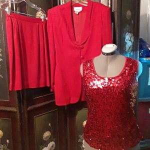 2 pc Worthington Lined Red Suit w/ Red Tank